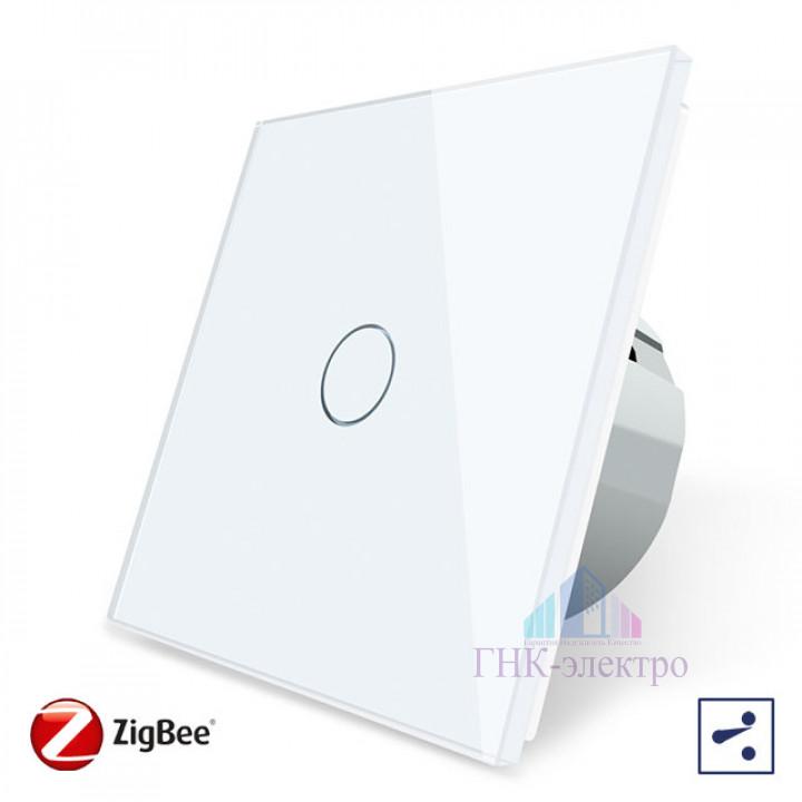 Сенсорный проходной выключатель Livolo ZigBee (Wi-Fi) 1 клавиша 1 модуль Белый