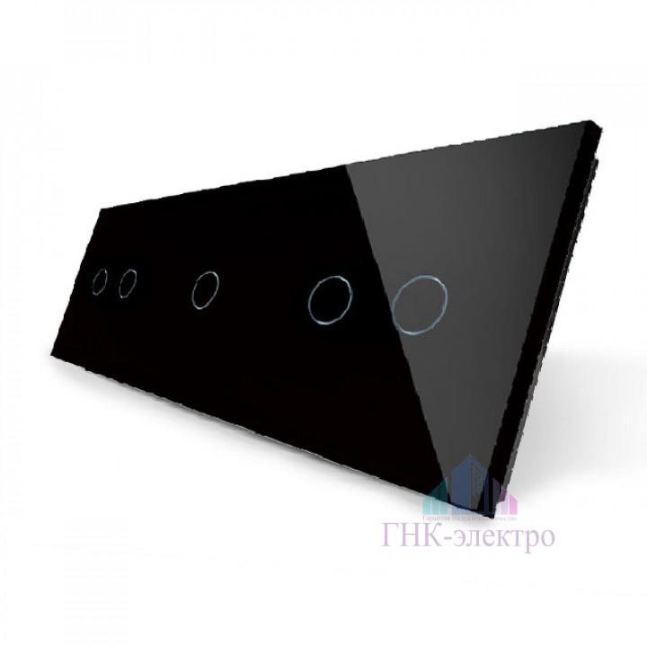 Панель для трех сенсорных выключателей Livolo, 5 клавиш (2+1+2), цвет черный, стекло