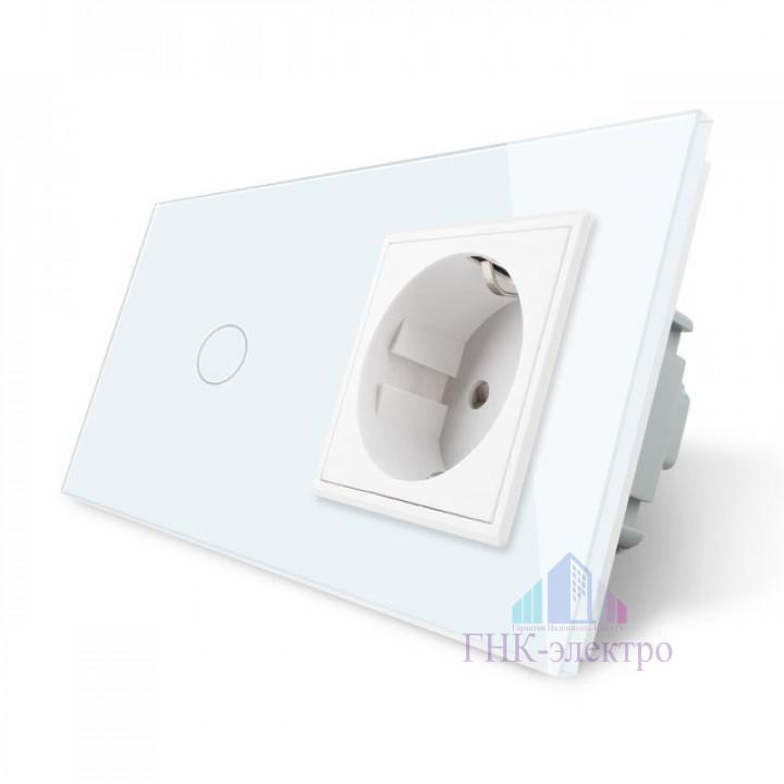 Сенсорный выключатель Livolo комбинированный на 1 линию 1 розетка 2 модуля Белый