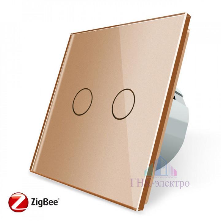 Сенсорный выключатель Livolo ZigBee (Wi-Fi) 2 клавиши 1 модуль Золотой