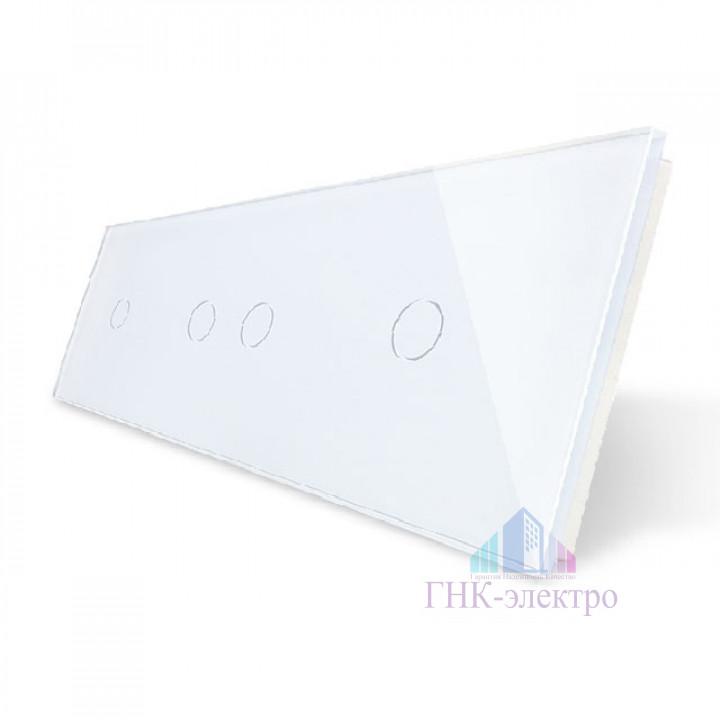 Панель для трех сенсорных выключателей Livolo, 4 клавиши (1+2+1), цвет белый, стекло