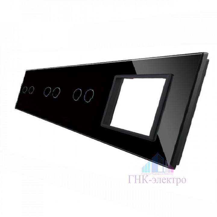 Панель для трех сенсорных выключателей и розетки Livolo, 6 клавиш (2+2+2), цвет черный, стекло