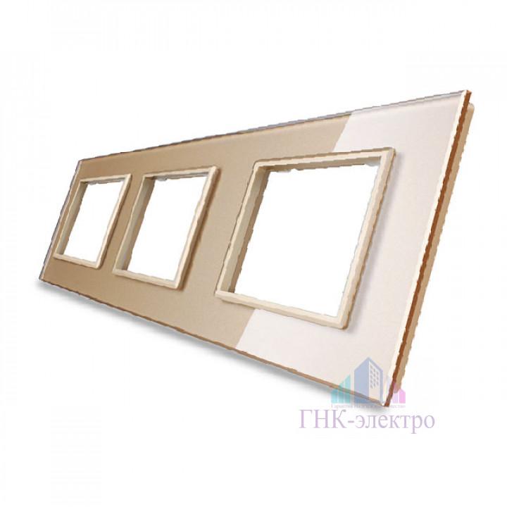 Рамка для розетки Livolo 3 поста, цвет золотой, стекло