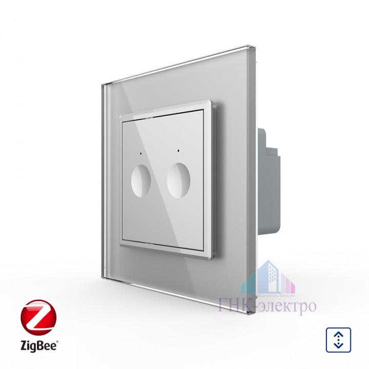 Сенсорный выключатель для жалюзи WI-FI (Zigbee) Livolo 2 клавиши 1 модуль Серый