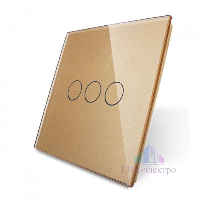 Панель для сенсорного выключателя Livolo UK стандарт, 3 клавиши, цвет золотой, стекло