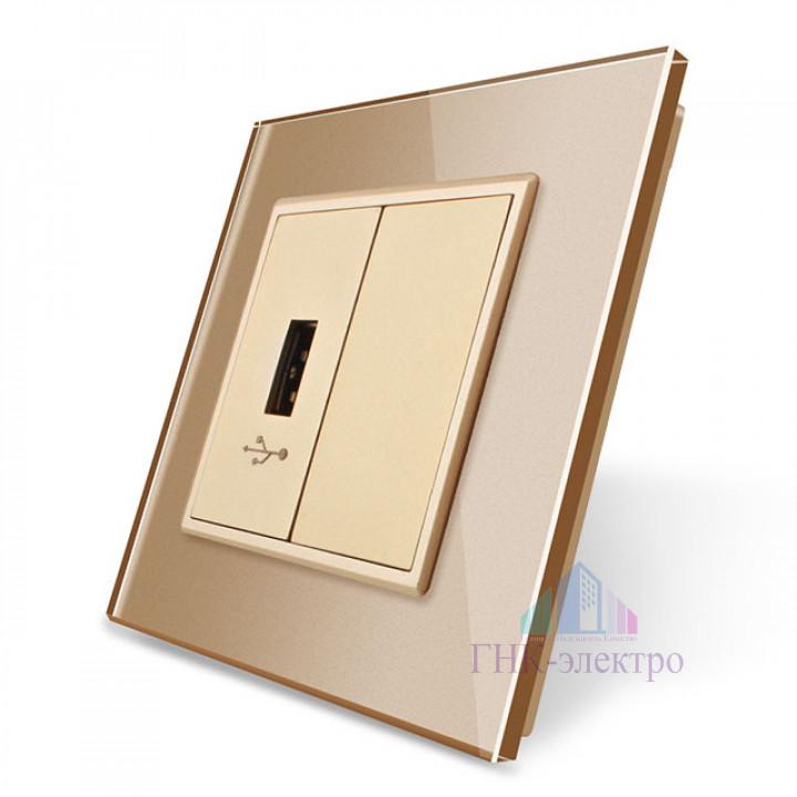 Розетка Livolo USB с блоком 5В 2.1А Золотая