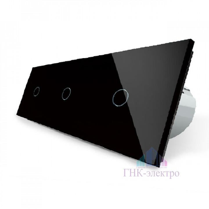 Сенсорный выключатель Livolo 3 клавиши (1+1+1), 3 поста Черный