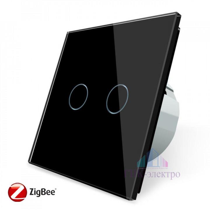 Сенсорный выключатель Livolo ZigBee (Wi-Fi) 2 клавиши 1 модуль Черный