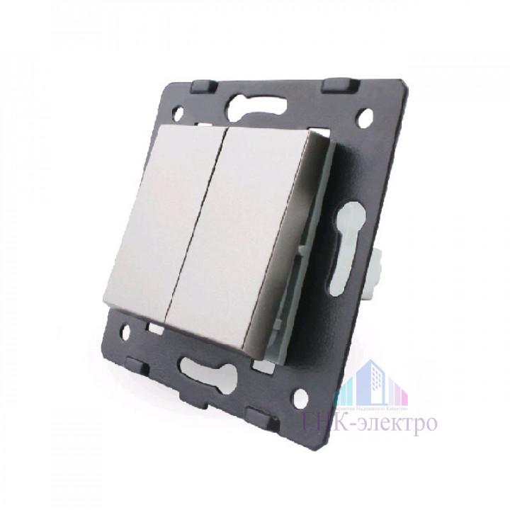 Двухклавишный механический выключатель Livolo, цвет серый (механизм)