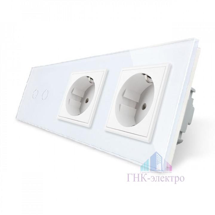 Сенсорный выключатель Livolo комбинированный на 2 линии 2 розетки 3 модуля Белый