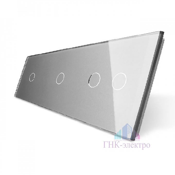 Панель для трех сенсорных выключателей Livolo, 4 клавиши (1+1+2), цвет серый, стекло