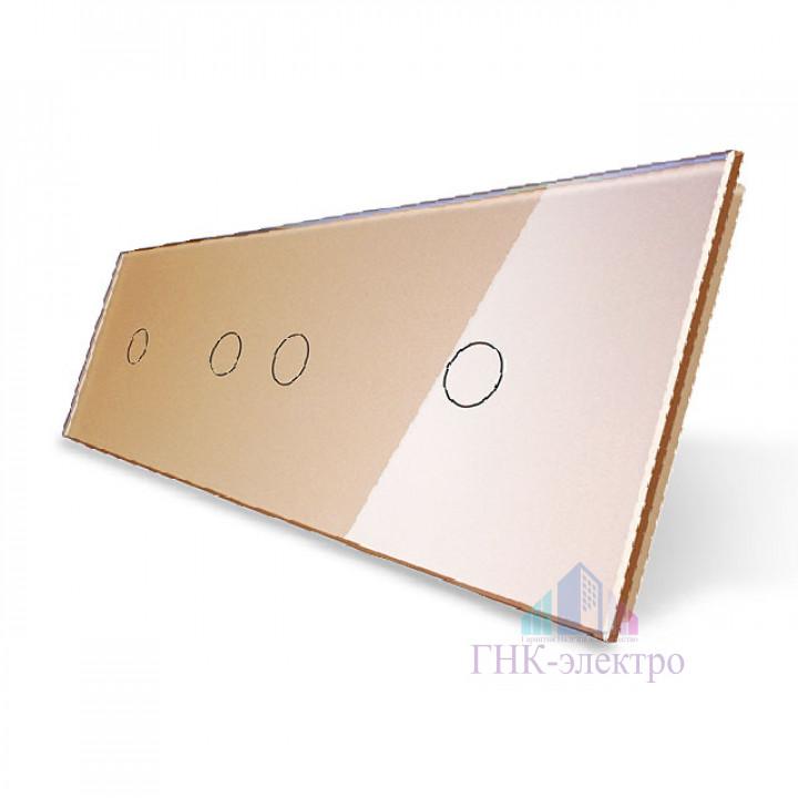 Панель для трех сенсорных выключателей Livolo, 4 клавиши (1+2+1), цвет золотой, стекло