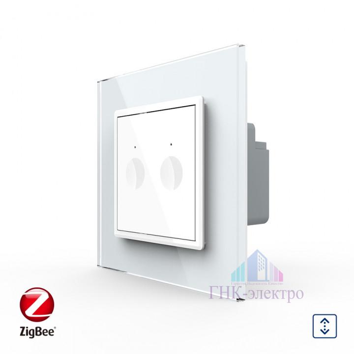 Сенсорный выключатель для жалюзи WI-FI (Zigbee) Livolo 2 клавиши 1 модуль Белый