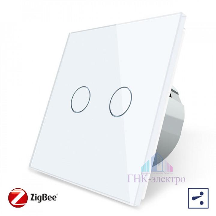 Сенсорный проходной выключатель Livolo ZigBee (Wi-Fi) 2 клавиши 1 модуль Белый