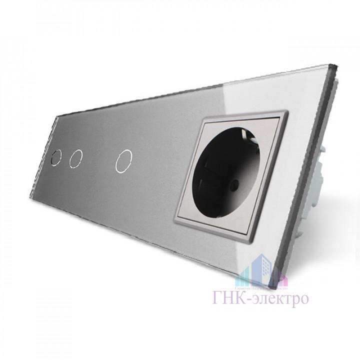 Сенсорный выключатель Livolo комбинированный на 3 линии 1 розетка 3 модуля Серый
