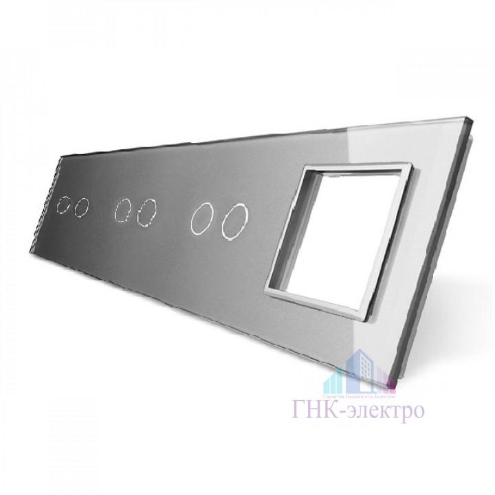 Панель для трех сенсорных выключателей и розетки Livolo, 6 клавиш (2+2+2), цвет серый, стекло