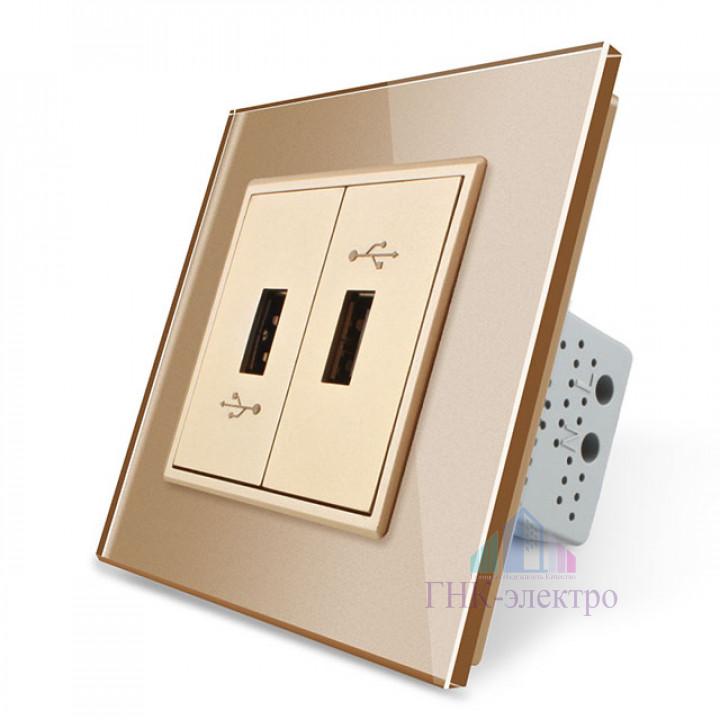 Розетка Livolo USB с блоком 5В 2.1А двойная Золотая
