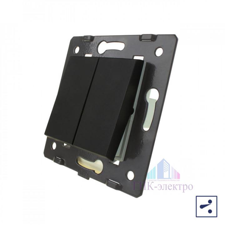 Двухклавишный проходной механический выключатель Livolo, цвет черный (механизм)