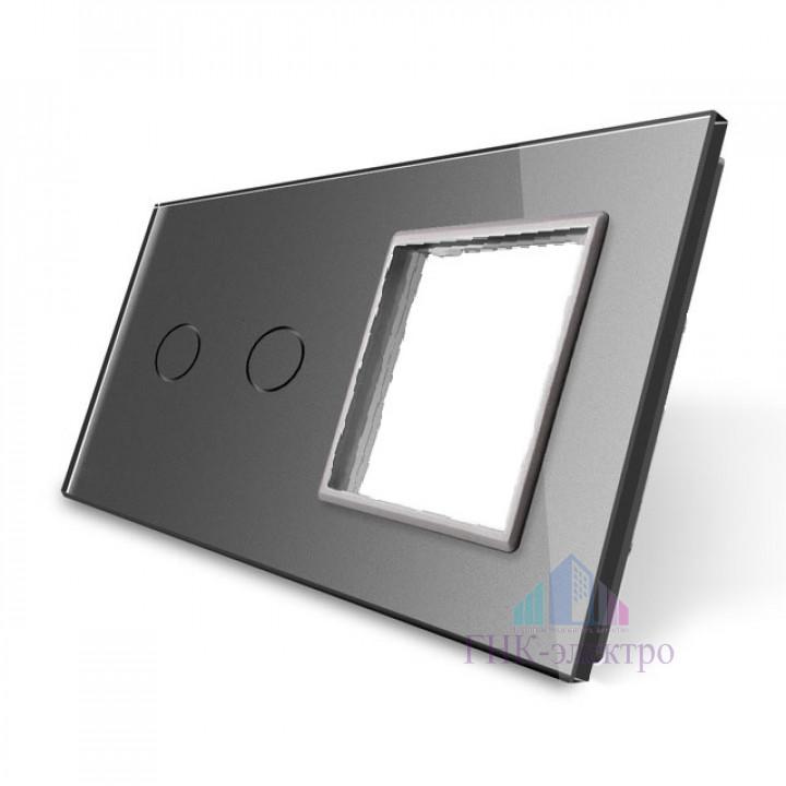 Панель для сенсорного выключателя и розетки Livolo, 2 клавиши, цвет серый, стекло