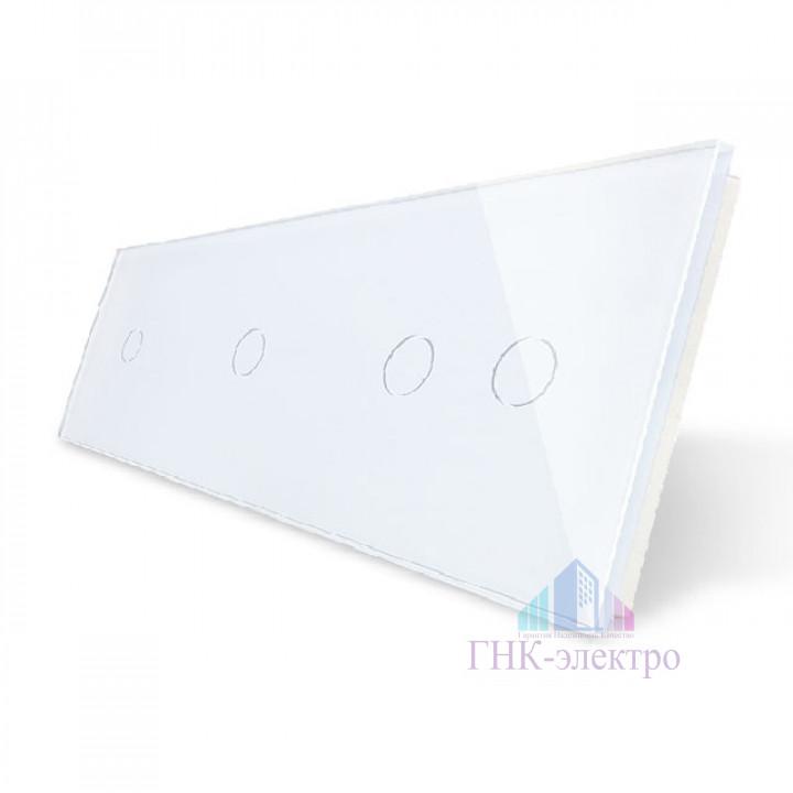 Панель для трех сенсорных выключателей Livolo, 4 клавиши (1+1+2), цвет белый, стекло