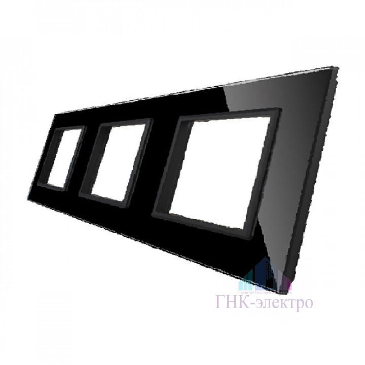 Рамка для розетки Livolo 3 поста, цвет черный, стекло