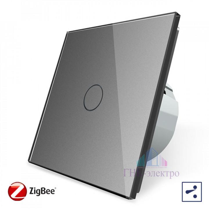 Сенсорный проходной выключатель Livolo ZigBee (Wi-Fi) 1 клавиша 1 модуль Серый