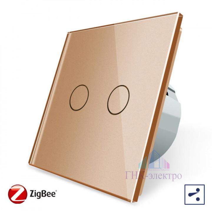 Сенсорный проходной выключатель Livolo ZigBee (Wi-Fi) 2 клавиши 1 модуль Золотой