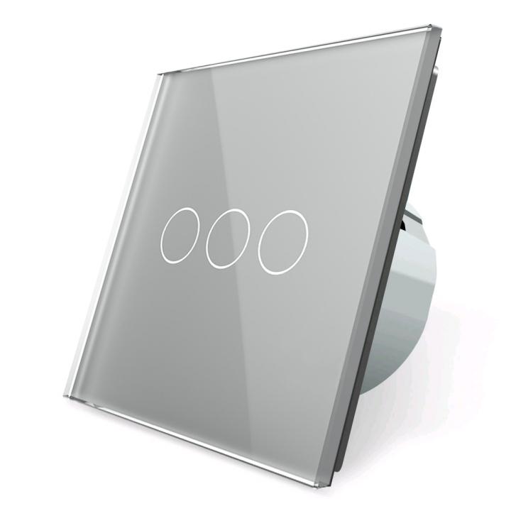 Сенсорный выключатель Livolo 3 клавиши 1 пост Серебряный UK стандарт