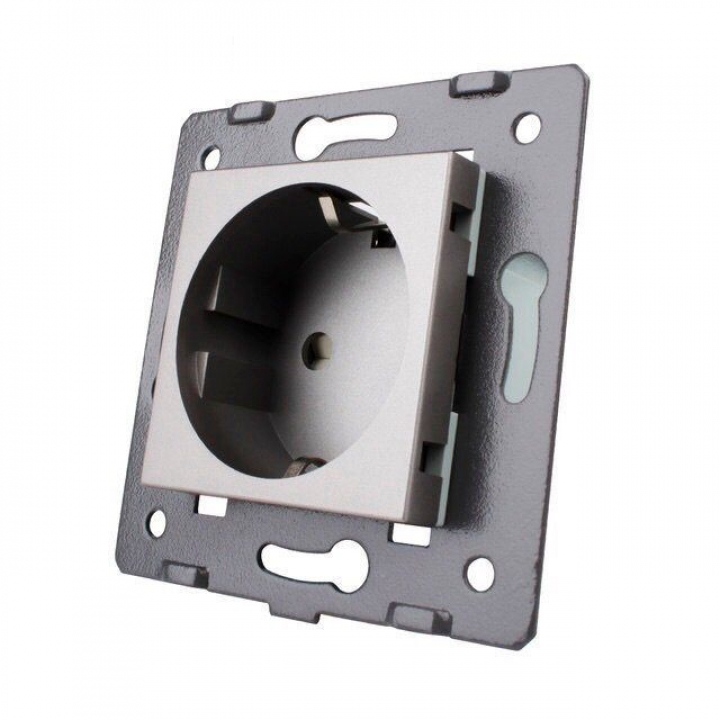 Розетка электрическая с заземлением защитными шторками 16A Livolo, цвет серый (механизм)