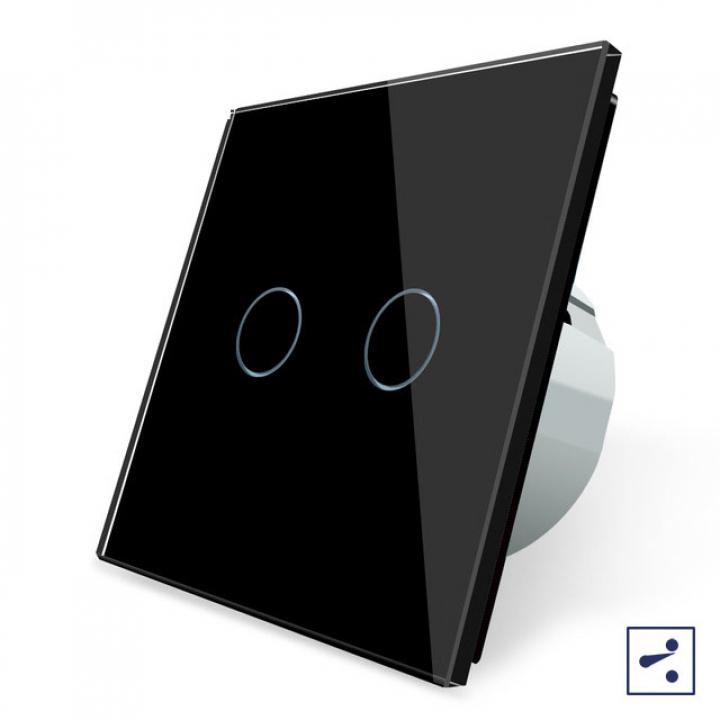 Сенсорный проходной выключатель Livolo 2 клавиши 1 модуль Черный