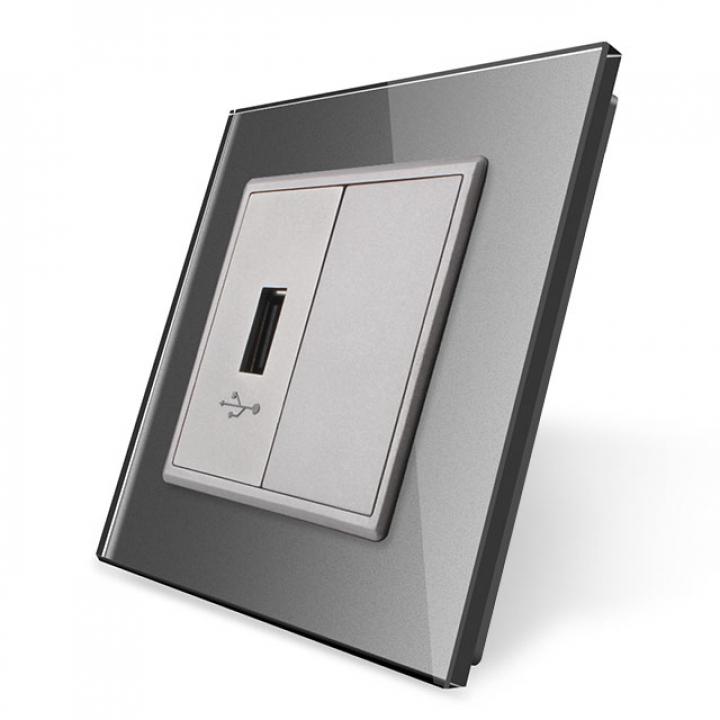 Розетка Livolo USB с блоком 5В 2.1А Серая