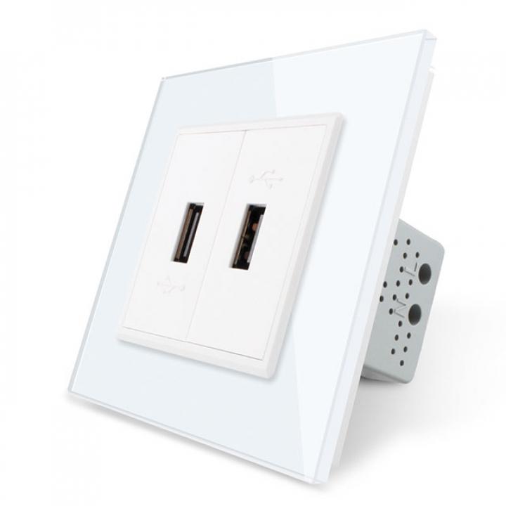 Розетка Livolo USB с блоком 5В 2.1А двойная Белая