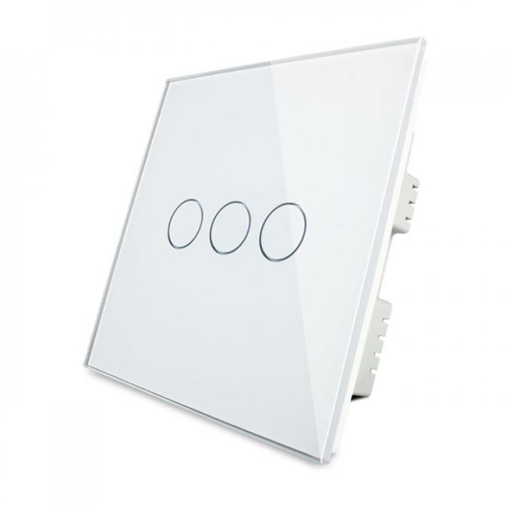 Сенсорный выключатель Livolo 3 клавиши 1 пост Белый UK стандарт