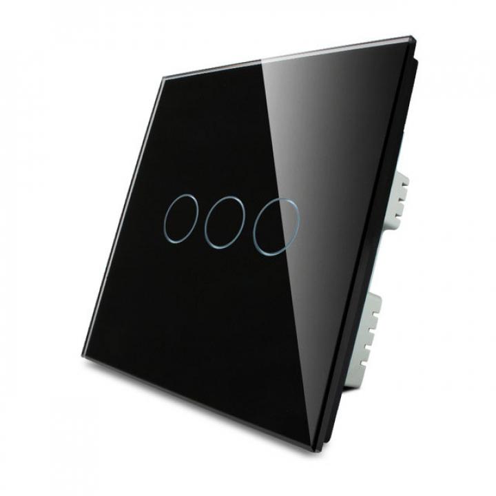 Сенсорный выключатель Livolo 3 клавиши 1 пост Черный UK стандарт