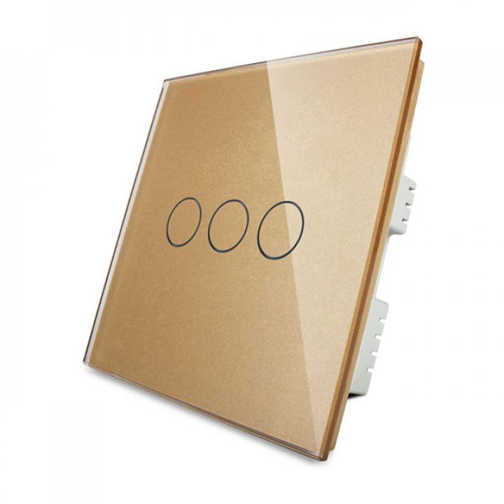 Сенсорный выключатель Livolo 3 клавиши 1 пост Золотой UK стандарт