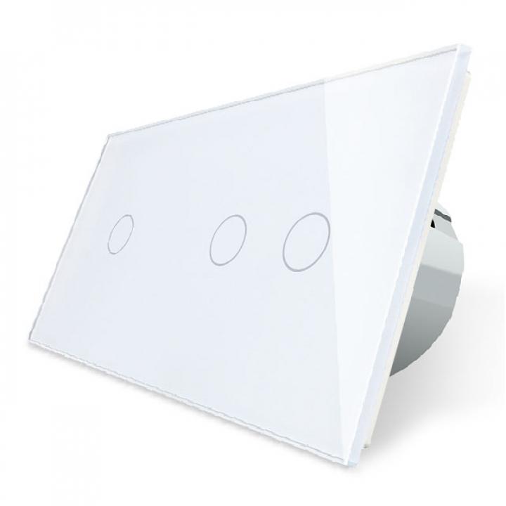Сенсорный выключатель Livolo 3 клавиши (1+2), 2 поста Белый