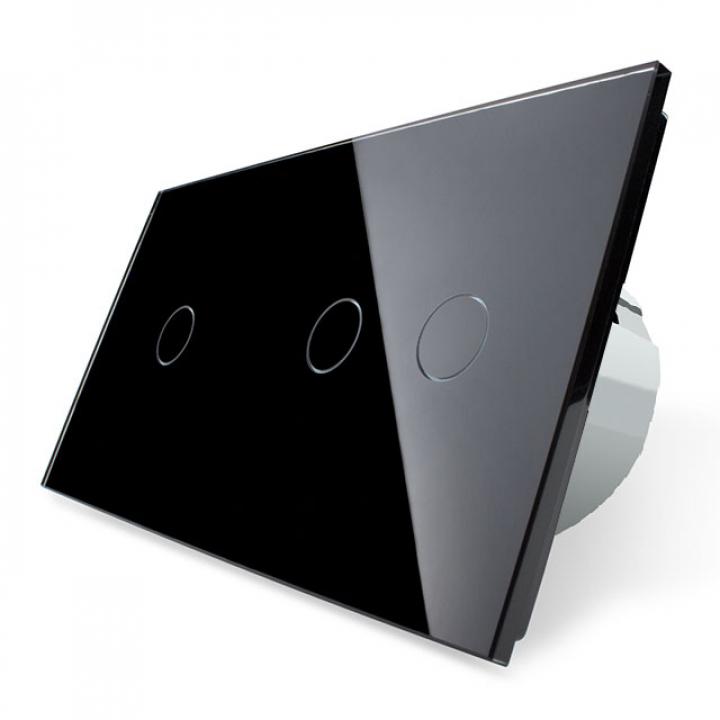 Сенсорный выключатель Livolo 3 клавиши (1+2), 2 поста Черный