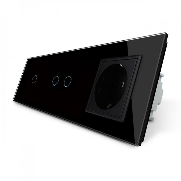 Сенсорный выключатель Livolo комбинированный на 3 линии 1 розетка 3 модуля Черный