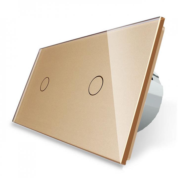 Сенсорный выключатель Livolo 2 клавиши (1+1), 2 поста Золотой