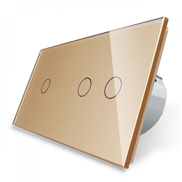 Сенсорный выключатель Livolo 3 клавиши (1+2), 2 поста Золотой