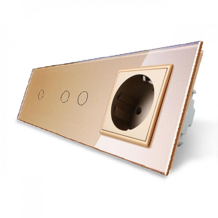 Сенсорный выключатель Livolo комбинированный на 3 линии 1 розетка 3 модуля Золотой