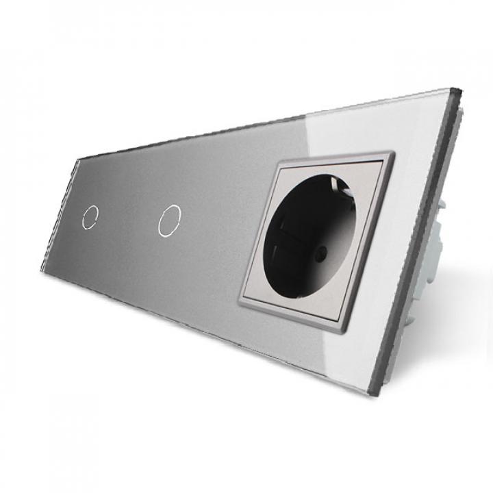 Сенсорный выключатель Livolo комбинированный на 2 линии 1 розетка 3 модуля Серый