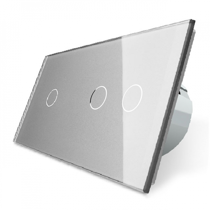 Сенсорный выключатель Livolo 3 клавиши (1+2), 2 поста Серый