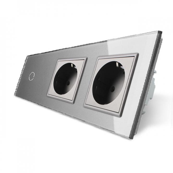 Сенсорный выключатель Livolo комбинированный на 1 линию 2 розетки 3 модуля Серый