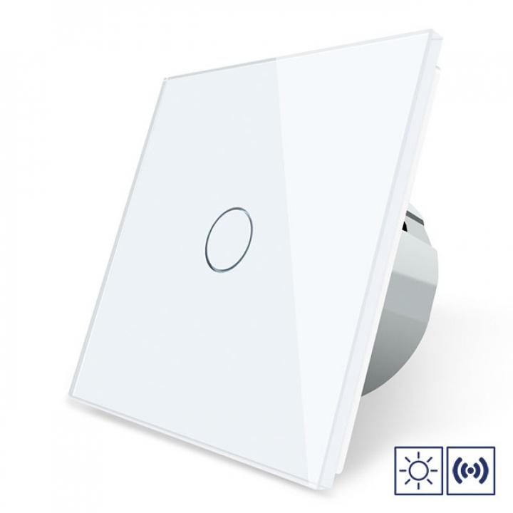 Сенсорный импульсный выключатель Livolo сухой контакт 1 клавиша 1 модуль Белый