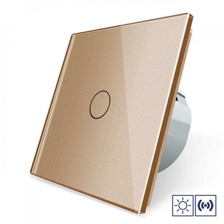 Сенсорный импульсный выключатель Livolo сухой контакт 1 клавиша 1 модуль Золотой