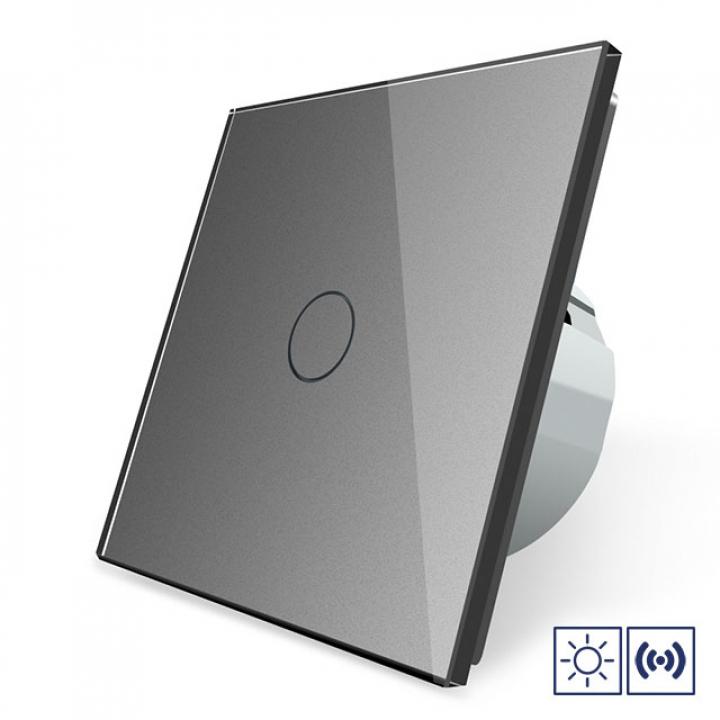 Сенсорный импульсный выключатель Livolo сухой контакт 1 клавиша 1 модуль Серый
