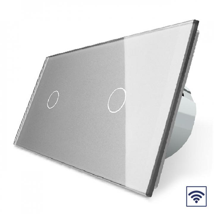 Сенсорный радиоуправляемый выключатель Livolo 2 клавиши 2 модуля Серый