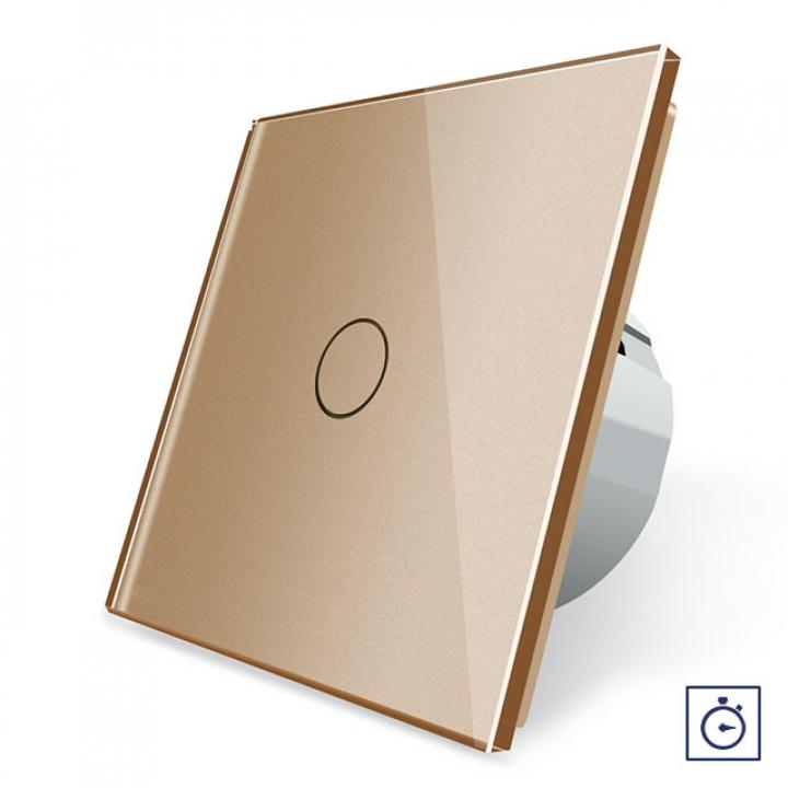 Сенсорный выключатель с таймером Livolo 1 клавиша 1 модуль Золотой