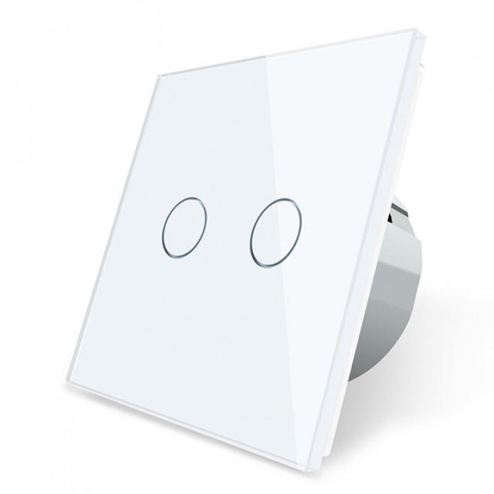 Сенсорный выключатель Livolo 2 клавиши 1 пост Белый